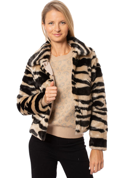 Love Token - Faux Fur Zebra Print Crop Jacket (LT35-01, Zebra)