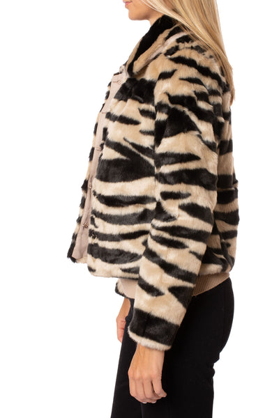 Love Token - Faux Fur Zebra Print Crop Jacket (LT35-01, Zebra) alt view 1