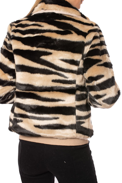 Love Token - Faux Fur Zebra Print Crop Jacket (LT35-01, Zebra) alt view 2