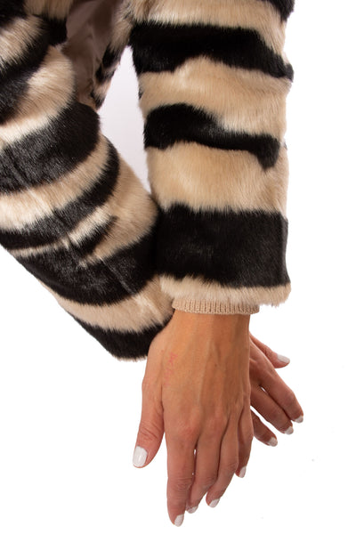 Love Token - Faux Fur Zebra Print Crop Jacket (LT35-01, Zebra) alt view 3