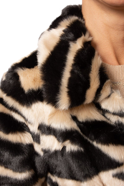 Love Token - Faux Fur Zebra Print Crop Jacket (LT35-01, Zebra) alt view 4