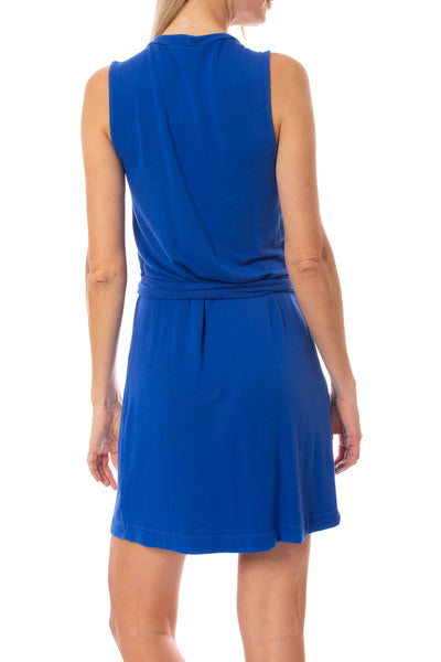 LA Made - Paige Wrap Sleeveless Dress (MOFT3005, Blue) alt view 2