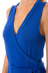 LA Made - Paige Wrap Sleeveless Dress (MOFT3005, Blue) alt view 4