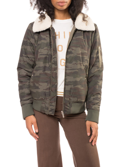 You Are Perfect Jacket (Style J0375-W3404, Olive Camo) by Sanctuary