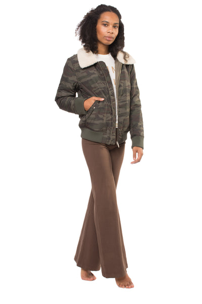 Wide Leg Roll Down Pants (Style W-326, Truffle) by Hard Tail Forever