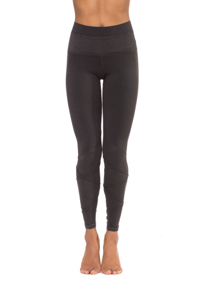 Flat Waist Mesh Wrap Legging (Style W-674, Granite) by Hard Tail Forever alt view 3