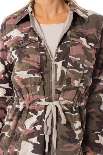 Hard Tail Forever - Six Pocket Draw String Zip Camo Jacket (BURG-12, Concrete Camo) alt view 5