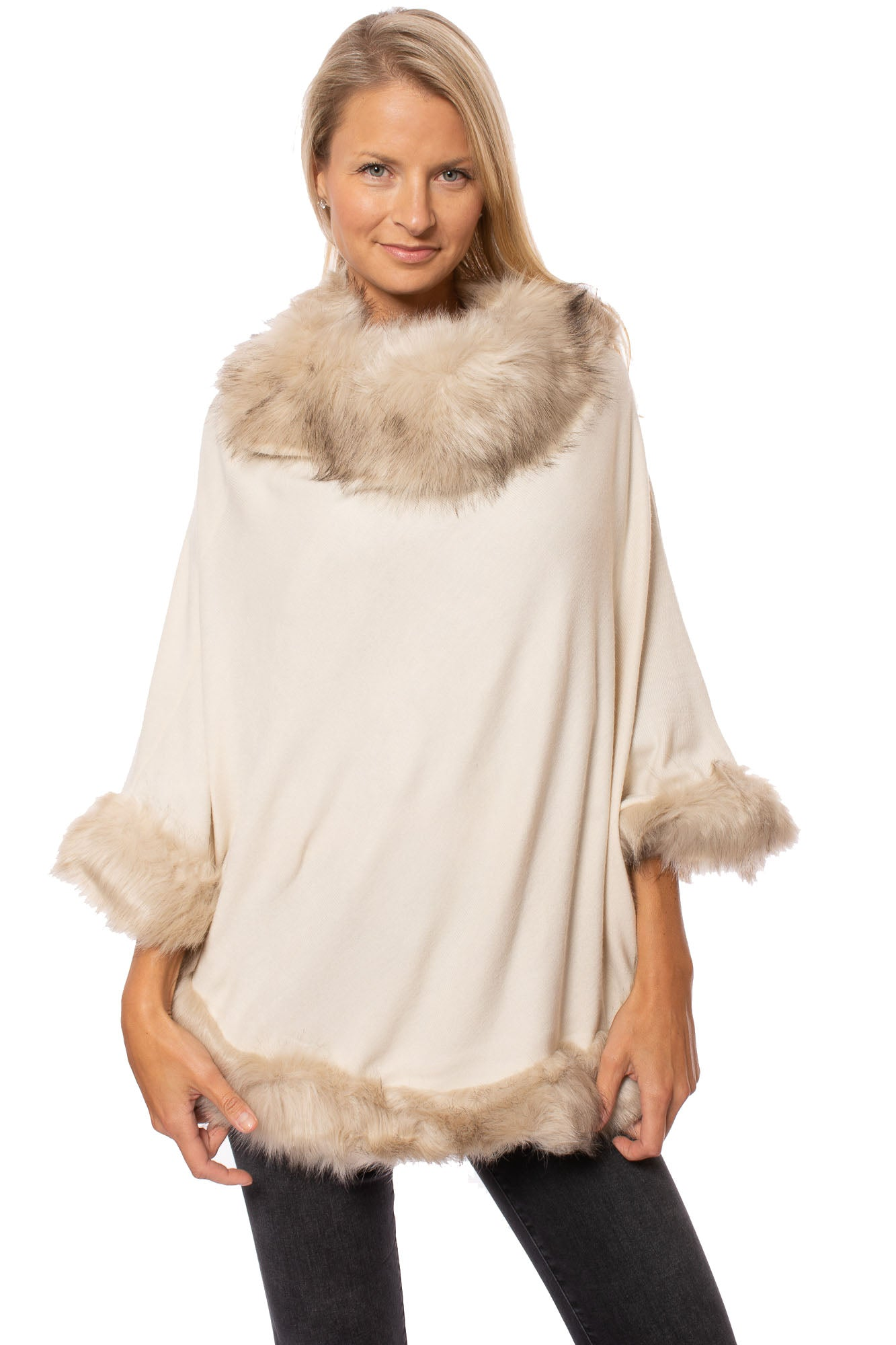 Pia Rossini - Ambrosia  Poncho W/Faux Fur (AMBROSIA, Honey)