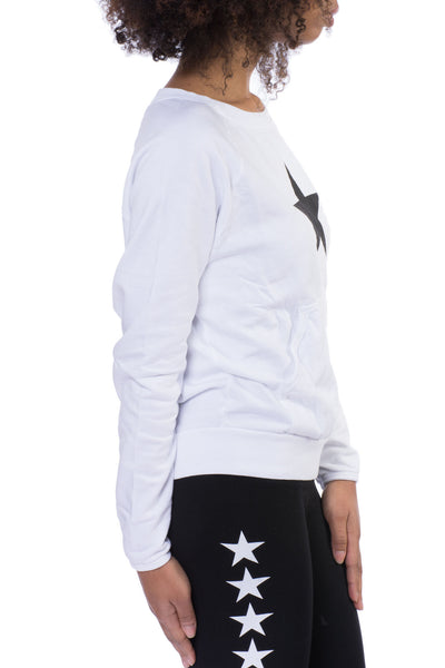 Kangaroo Long Sleeve Star Sweatshirt (Style SMF-01, White) by Hard Tail Hard Tail Forever alt view 2