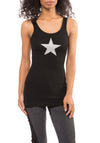 Black Rayon Ribbed Tank w/Star (Style RR-19, Black) by Hard Tail Hard Tail Forever