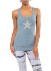 Rayon Ribbed Tank w/Star (Style RR-19-501, Moon) by Hard Tail Hard Tail Forever
