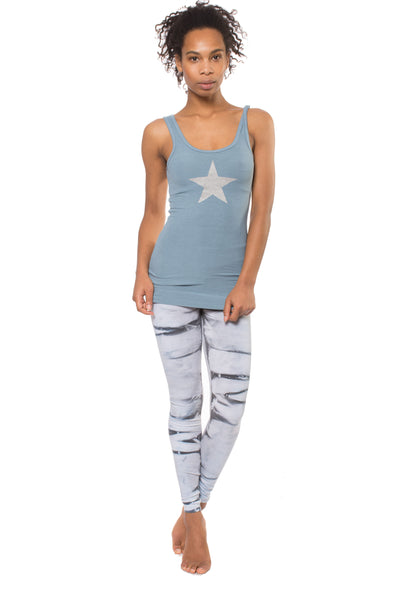 Rayon Ribbed Tank w/Star (Style RR-19-501, Moon) by Hard Tail Forever
