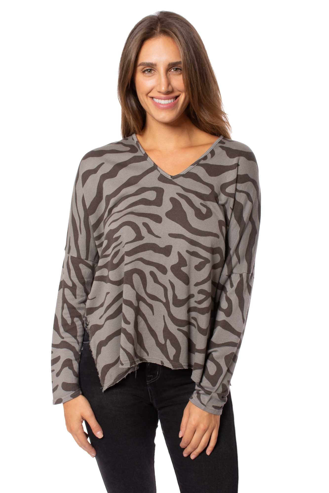 XCVI - Warrick V Neck Long Sleeve (13869, Brown & Gray Animal Print) alt view 2