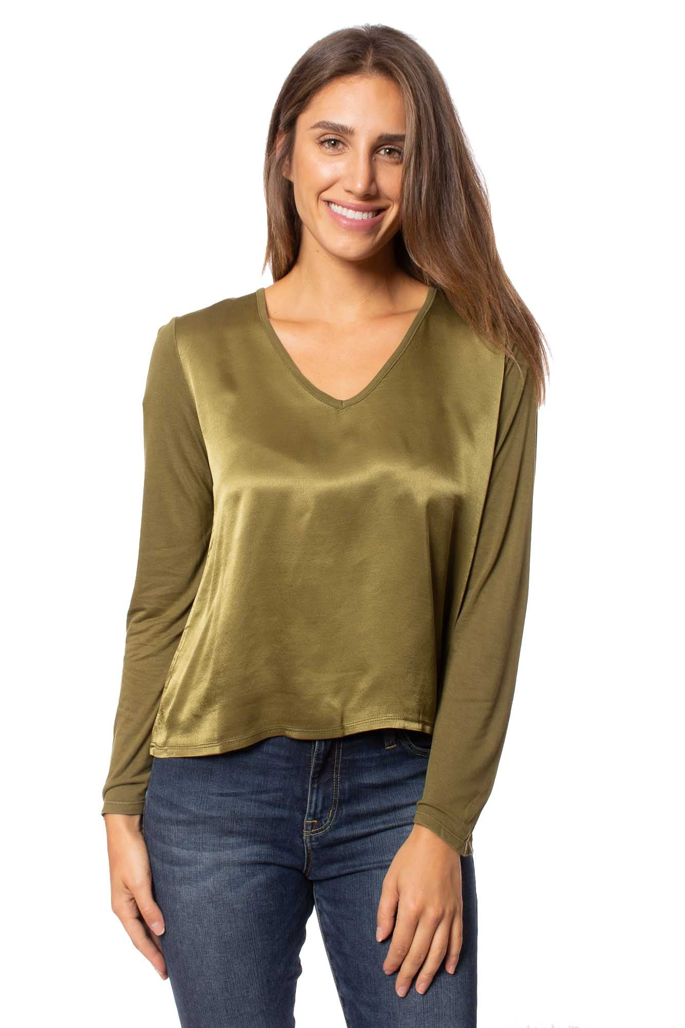 XCVI - Reflective Green V Neck Blouse (13463, Reflective Green) alt view 1