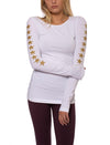 Supima/Lycra Long Sleeve Scoop Tee (Style SL-69, White w/Rose Gold) by Hard Tail Forever