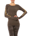Hard Tail Forever - Supima/Lycra Long Sleeve Scoop Tee W/Star (SL-69-507, Thyme w/Gold Stars)