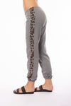 Hard Tail Forever - Racer Stripe Pull On Sweat Pants (LEOFT-07, Nickel w/Leapard Print Stripe)