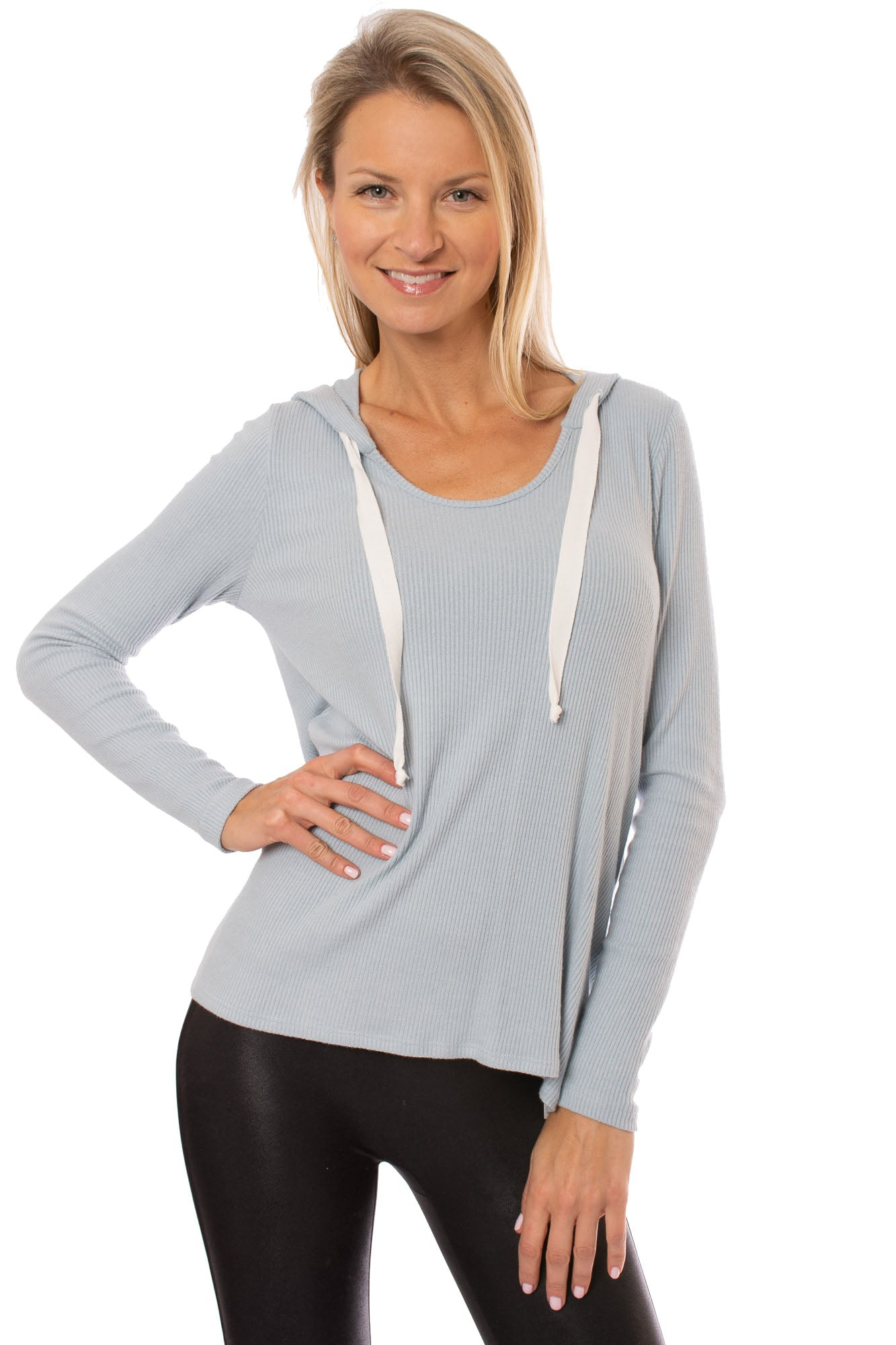 Fifteen Twenty - Long Sleeve Ribbed Hoodie (4F57047, Light Blue)