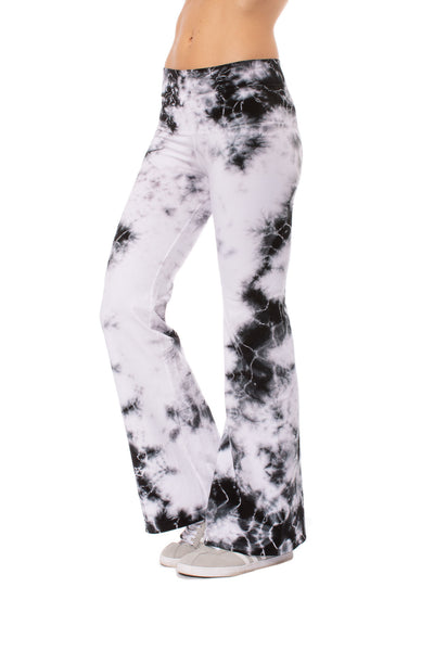 Hard Tail Forever - Hi Rise Flat Waist Flare (W-919 MOON 1, Tie-Dye Black & White Moonscape)