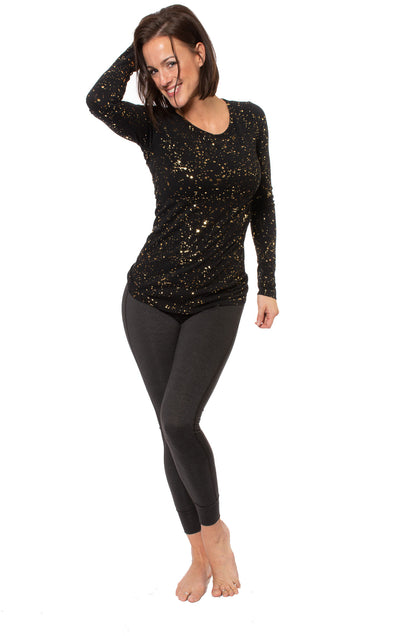 Hard Tail Forever - Supplex Lycra Long Sleeve Scoop Tee  (SL-69-SP1, Black w/Gold Flecks) alt view 8