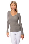 Hard Tail Forever - Lurex V Neck Thermal Long Sleeve (LTH-05, Nickel)