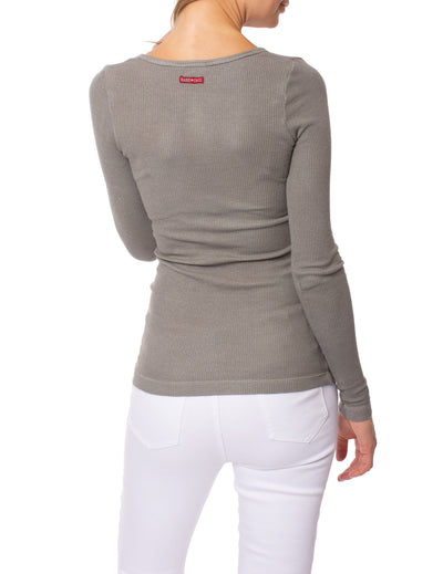 Hard Tail Forever - Lurex V Neck Thermal Long Sleeve (LTH-05, Nickel) alt view 2