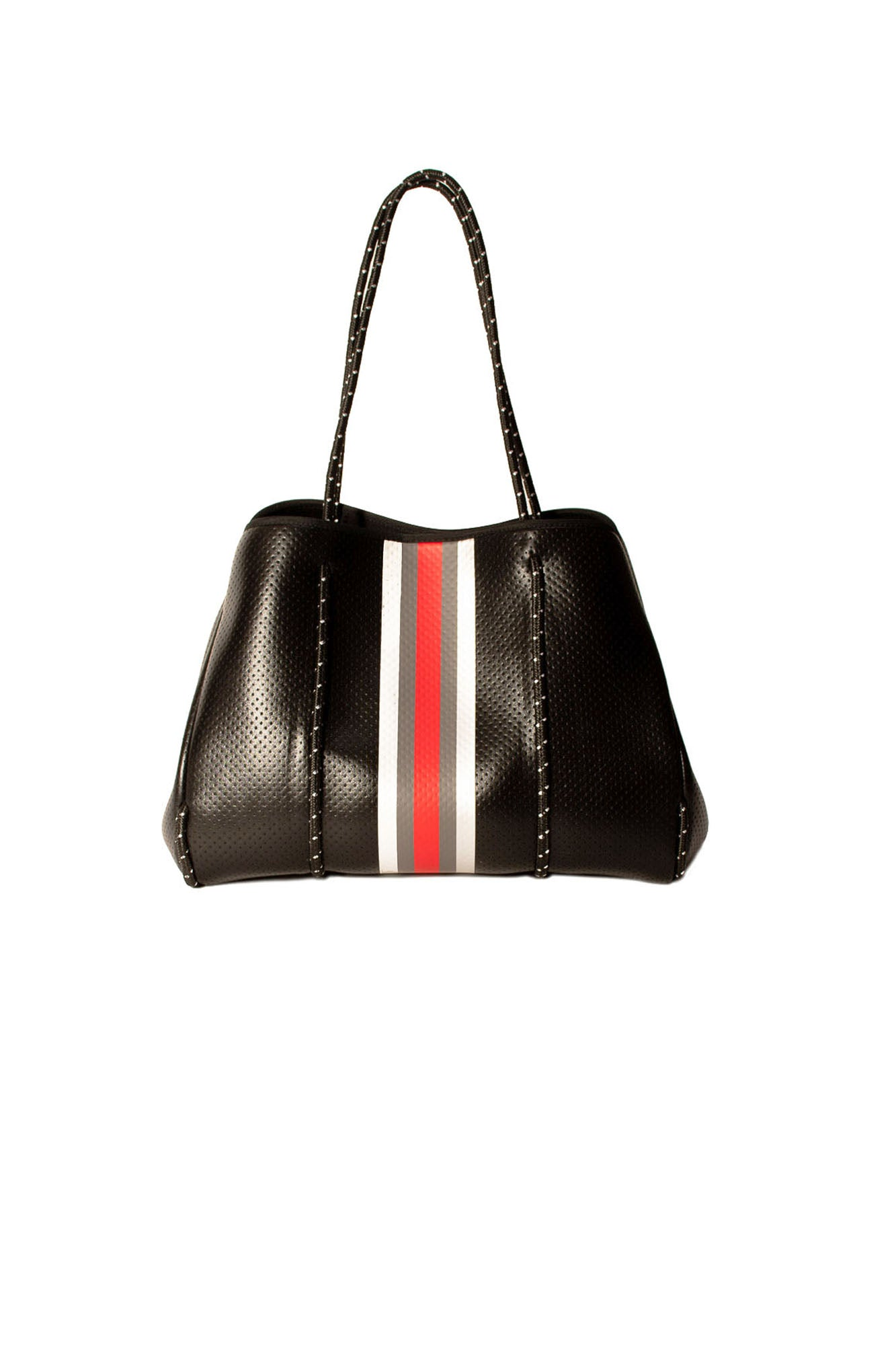 Haute Shore - Greyson Uptown2 Neoprene Tote Bag w/Zipper Wristlet Inside (uptown2, Black Coated w/Silver Charcoal Red Stripe)