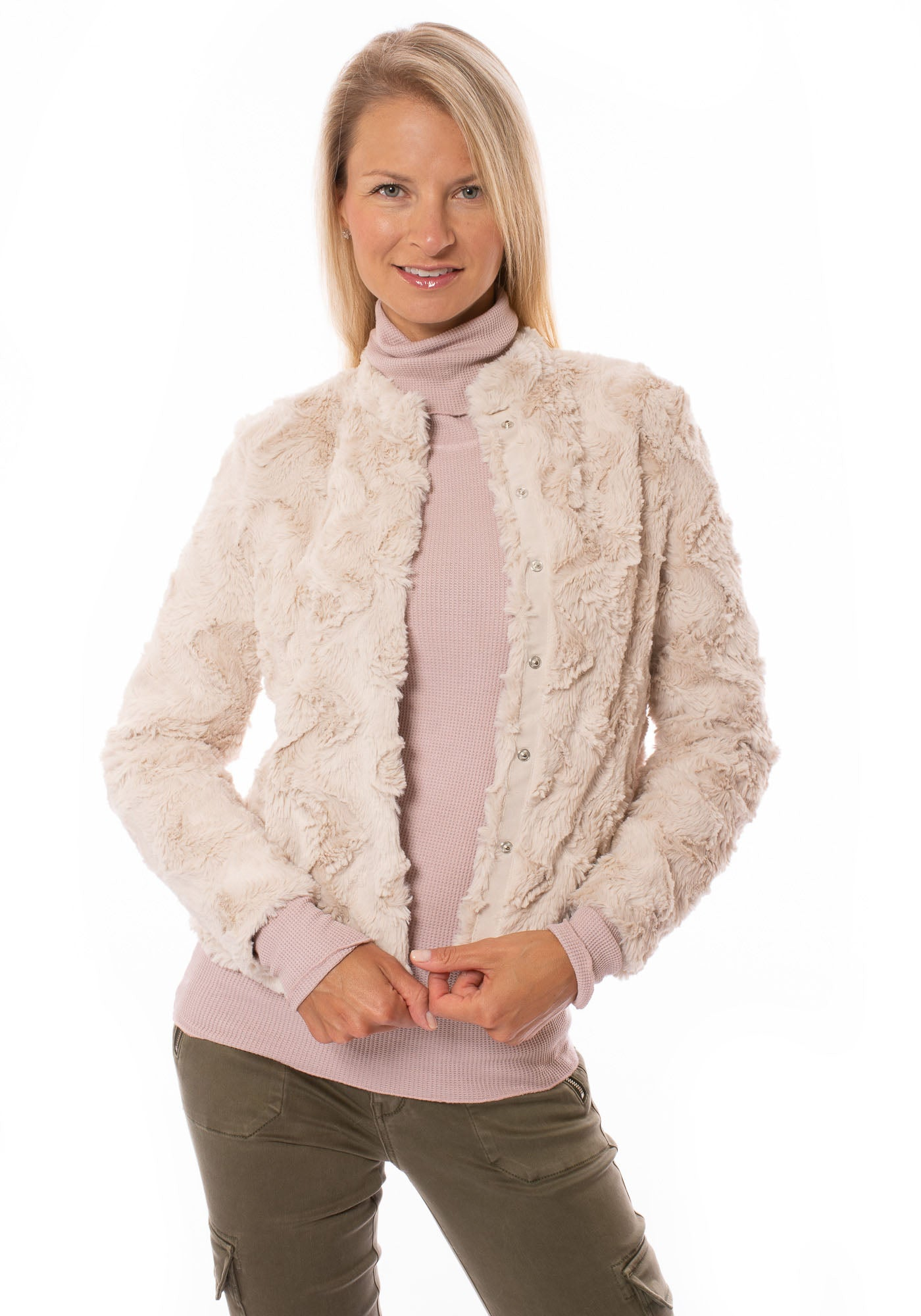 Tart Collections - Blaire 2 Faux Fur Bomber Jacket (U90288, Blush)