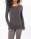 Supima/Lycra Long Sleeve Scoop Tee (Style SL-69, Dark Charcoal) by Hard Tail Forever