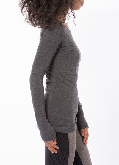 Supima/Lycra Long Sleeve Scoop Tee (Style SL-69, Dark Charcoal) by Hard Tail Forever alt view 1