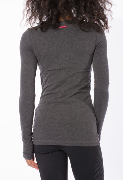 Supima/Lycra Long Sleeve Scoop Tee (Style SL-69, Dark Charcoal) by Hard Tail Forever alt view 2