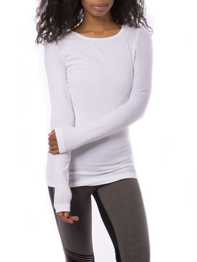 Supima/Lycra Long Sleeve Scoop Tee (Style SL-69, White) by Hard Tail Forever