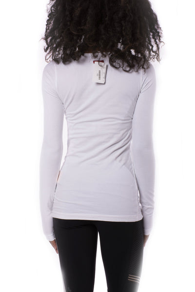 Supima/Lycra Long Sleeve Scoop Tee (Style SL-69, White) by Hard Tail Forever alt view 2