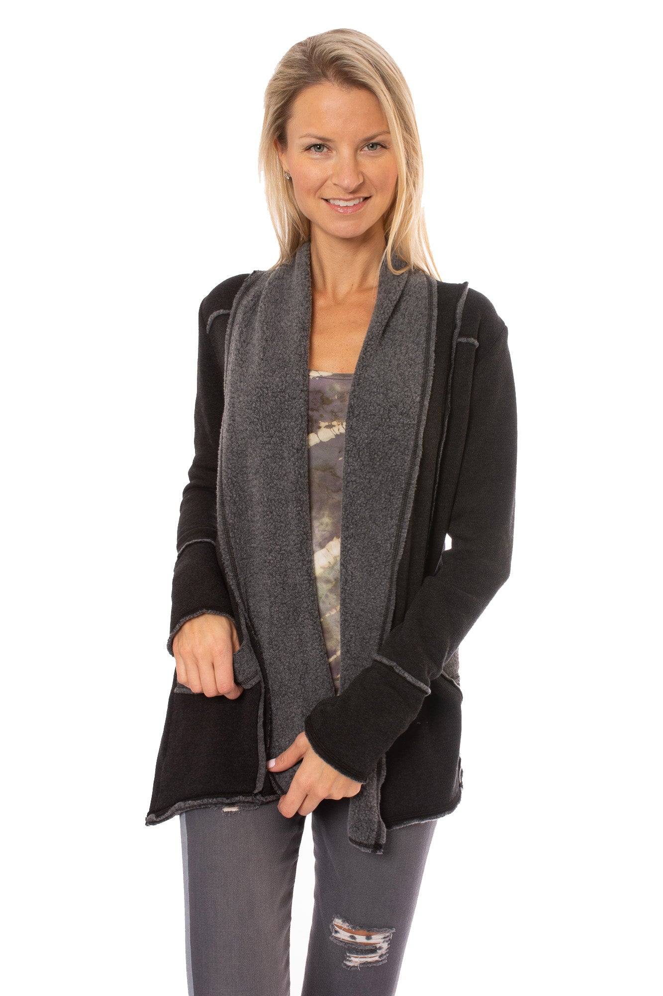 Hard Tail Forever - Slouchy Cardigan (SHE-02, Black)