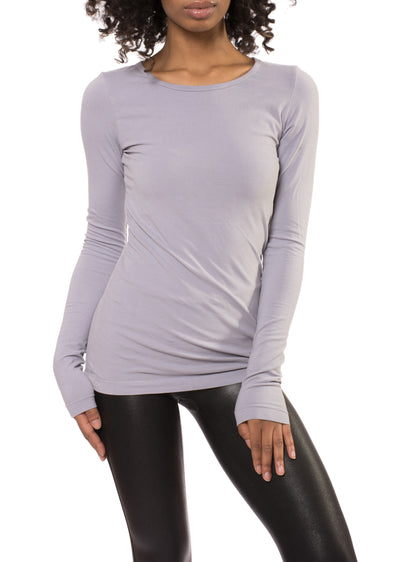 Supima/Lycra Long Sleeve Scoop Tee (Style SL-69, Blue Haze) by Hard Tail Forever
