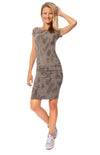 Hard Tail Forever - Sexy Cotton Lycra Ruched Camo Dress (SL-126, Gravel Camo)