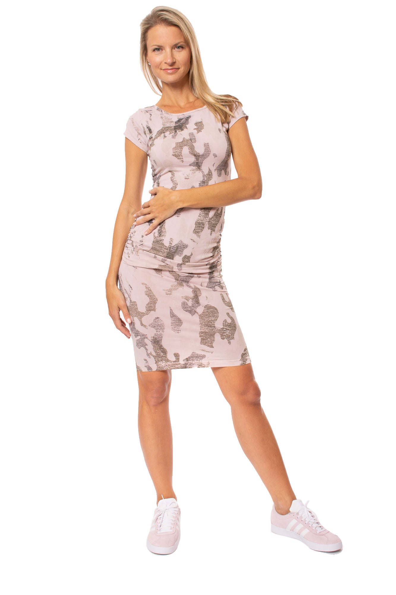 Hard Tail Forever - Sexy Cotton Lycra Ruched Camo Dress (SL-126, Camo Rose)