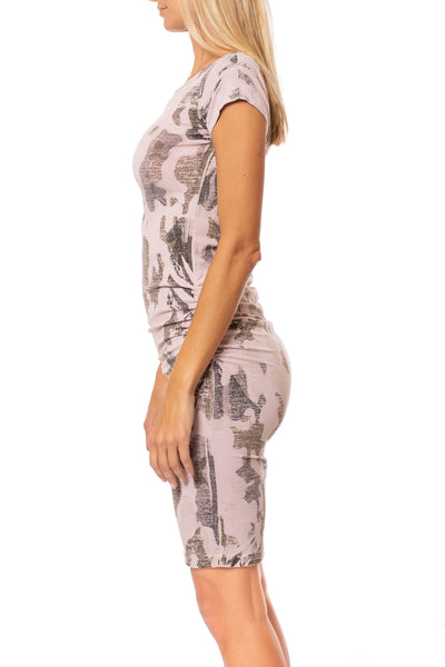 Hard Tail Forever - Sexy Cotton Lycra Ruched Camo Dress (SL-126, Camo Rose) alt view 1