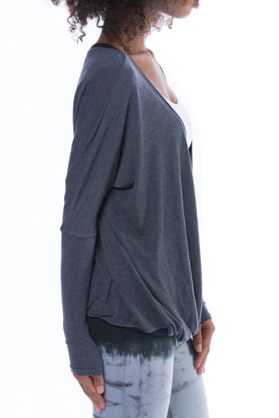 Long Sleeve Faux Wrap Sweater (Style VORT-12, Dark Charcoal) by Hard Tail Forever alt view 2