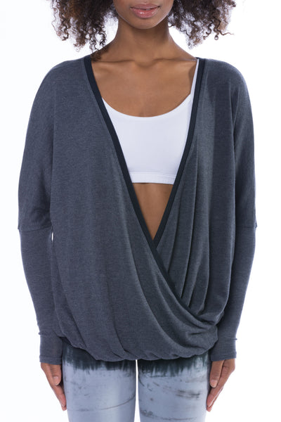 Long Sleeve Faux Wrap Sweater (Style VORT-12, Dark Charcoal) by Hard Tail Forever