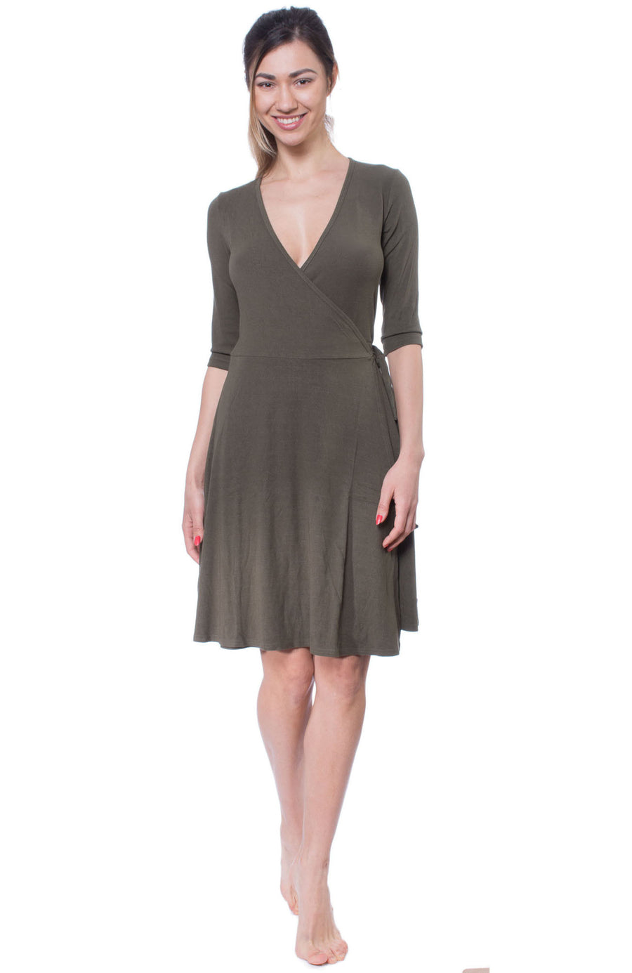 Wrap Dress (Style CREP-07, Olive) by Hard Tail Forever