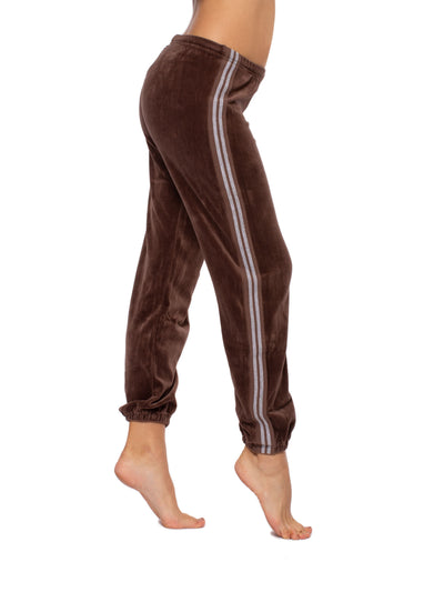Sparkle Stripe Sweat Pants (Style V-172, Mocha) by Hard Tail Forever alt view 1