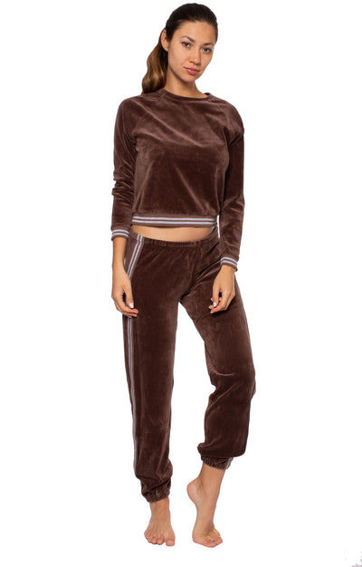 Sparkle Stripe Pull Over Sweat Shirt (Style V-166, Mocha) by Hard Tail Forever alt view 6