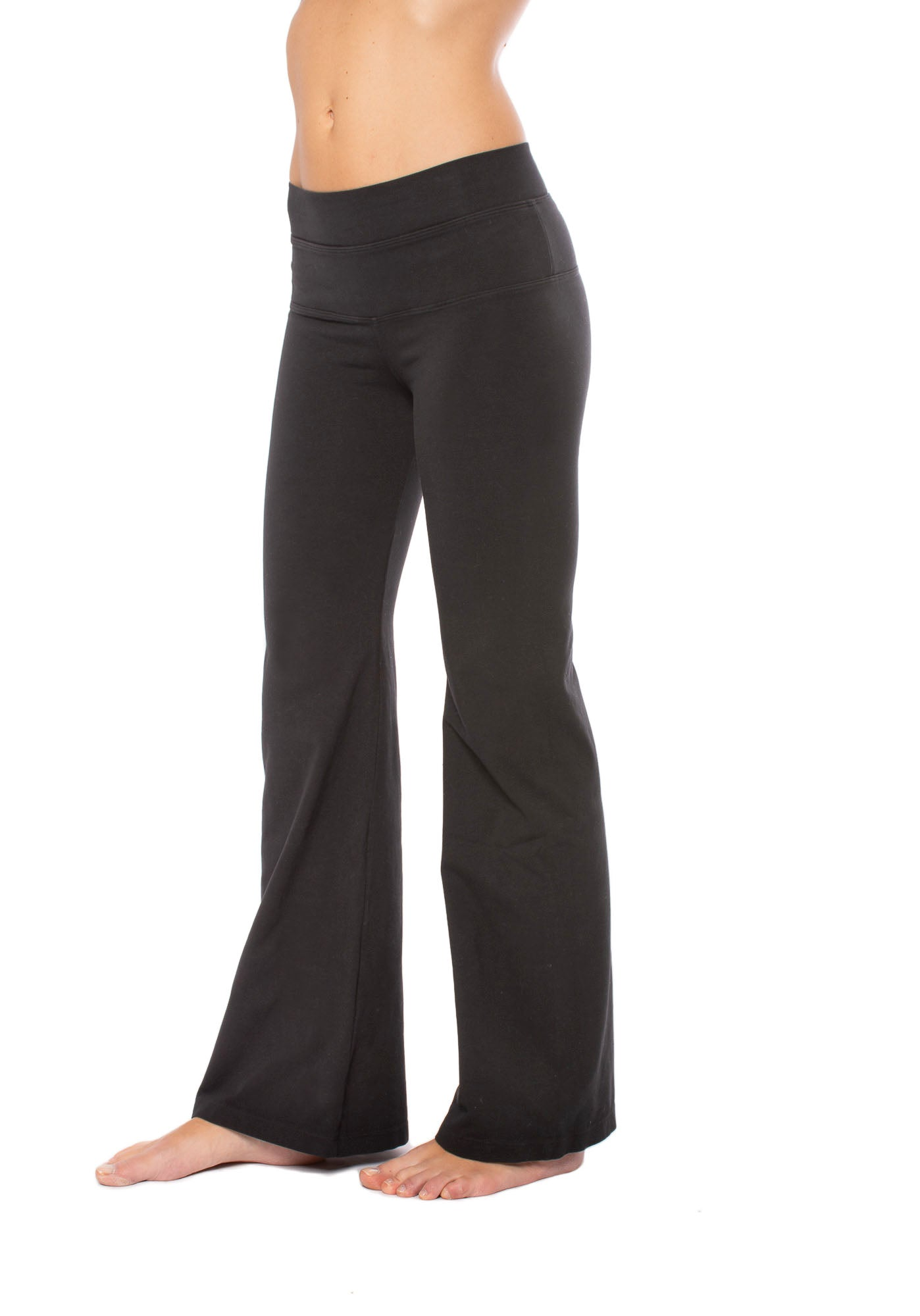 High Rise Flat Waist Flare (Style W-919, Black) by Hard Tail Forever