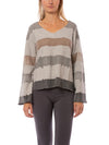 Hard Tail Forever - Raw Edge V Neck Bell Sleeve Sweatshirt (HSFT-01, Tie-Dye AND4)