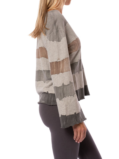 Hard Tail Forever - Raw Edge V Neck Bell Sleeve Sweatshirt (HSFT-01, Tie-Dye AND4) alt view 1