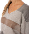 Hard Tail Forever - Raw Edge V Neck Bell Sleeve Sweatshirt (HSFT-01, Tie-Dye AND4) alt view 5