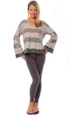 Hard Tail Forever - Raw Edge V Neck Bell Sleeve Sweatshirt (HSFT-01, Tie-Dye AND4) alt view 6