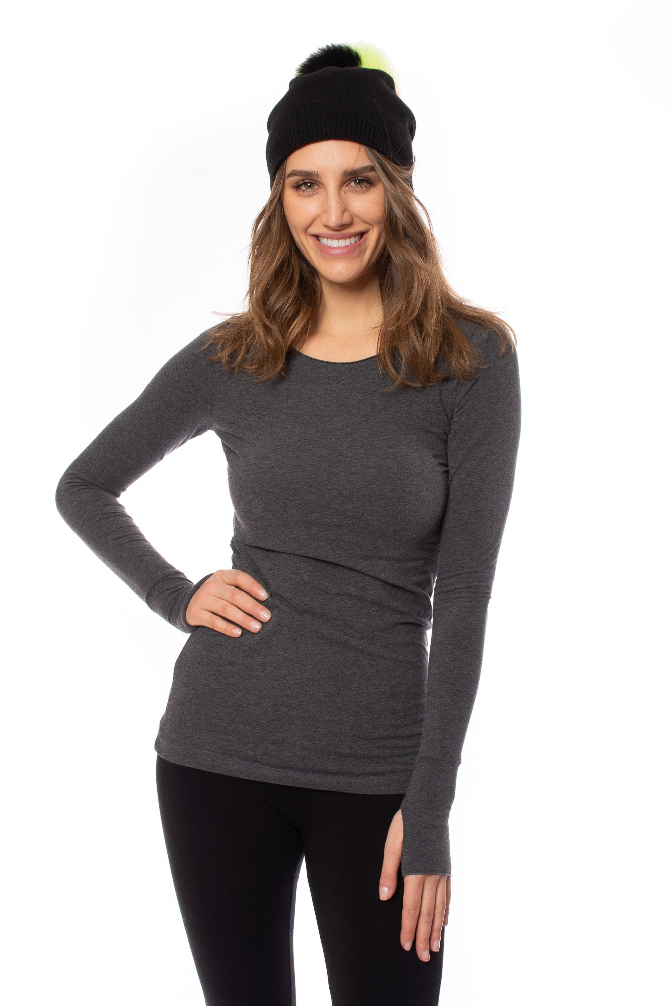 Long Sleeve Thumbhole (Style SL-143, Dark Charcoal) by Hard Tail Forever
