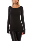 Hard Tail Forever - Supplex Lycra Long Sleeve Thumbhole Tee Shirt (SL-143, Black)